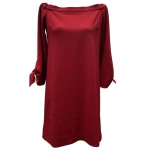 Tibi red dress with bow sleeve size 4